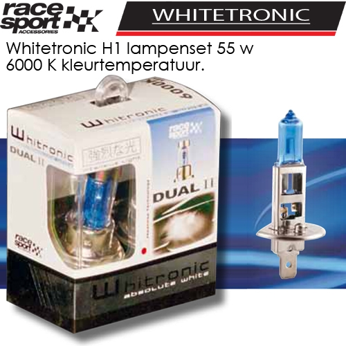 auto lampen set whitetronic h1 6000k kopen bij dolf van eijk automaterialen. Black Bedroom Furniture Sets. Home Design Ideas