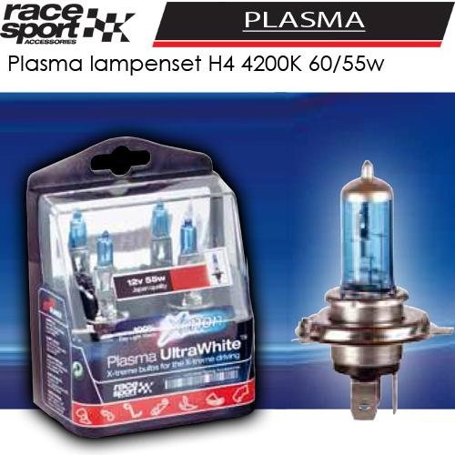 auto lampen set plasma h4 60 55w wit licht kopen bij dolf van eijk automaterialen. Black Bedroom Furniture Sets. Home Design Ideas
